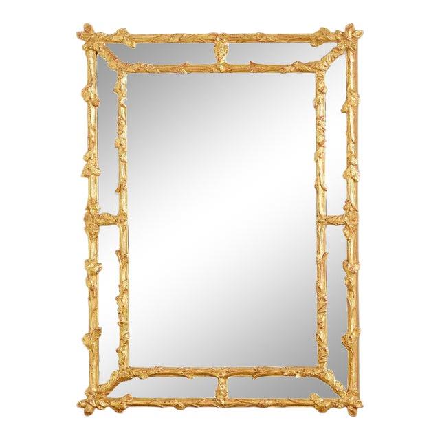 Italian Carved Gilt Wood Faux Bois Cushion Mirror For Sale