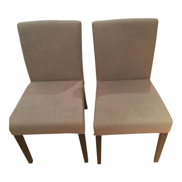 Crate & Barrel Lowe Upholstered Chairs - Pair - Image 1 of 4