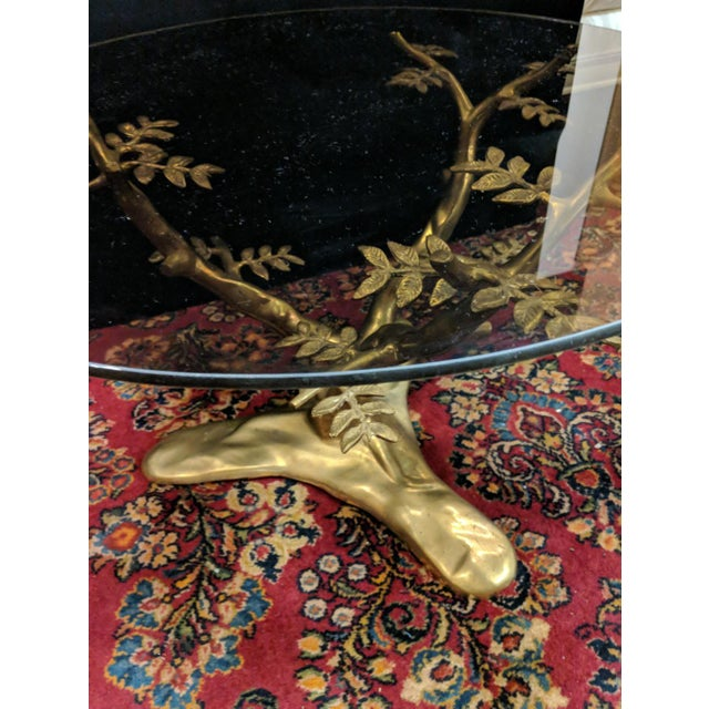 Gold Willie Daro Inspired Mid Century Modern Brass Tree Leaves Glass Top Table Set of 2 For Sale - Image 8 of 9