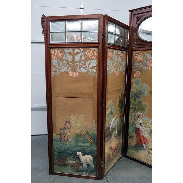 "Aesthetic Victorian 4 panel screen with beveled mirrors at the top of the panels. Each panel measures 26.5""w x 82.5""h x..."