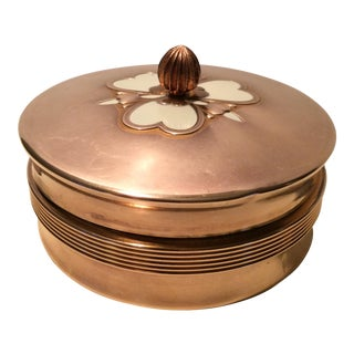1940s Vintage Manhattan Glass Copper Enamel Vanity Dish