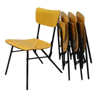 Vintage Mid-Century Cavalier Bent Plywood & Metal Folding Dining Chairs - Set of 4 For Sale
