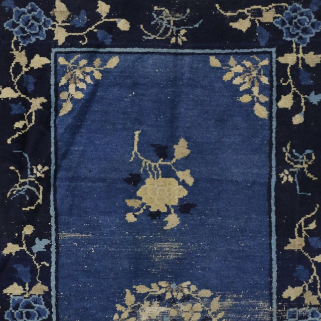 Early 20th Century Antique Blue Chinese Art Deco Rug For Sale - Image 5 of 8