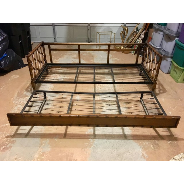 1970s Boho Chic Rollout Faux Bamboo Twin Trundle Bedframe For Sale - Image 4 of 13