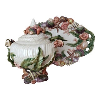 "Fitz and Floyd ""Oceana"" Tureen and Platter For Sale"