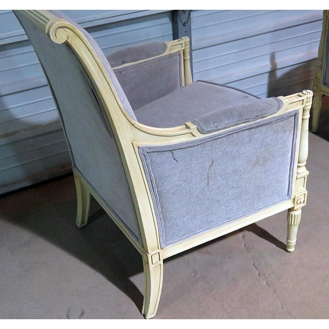 French Directoire Style Upholstered Bergeres - a Pair For Sale - Image 3 of 12