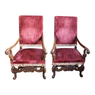 Louis XIV Style Carved Oak Arm Chairs - A Pair