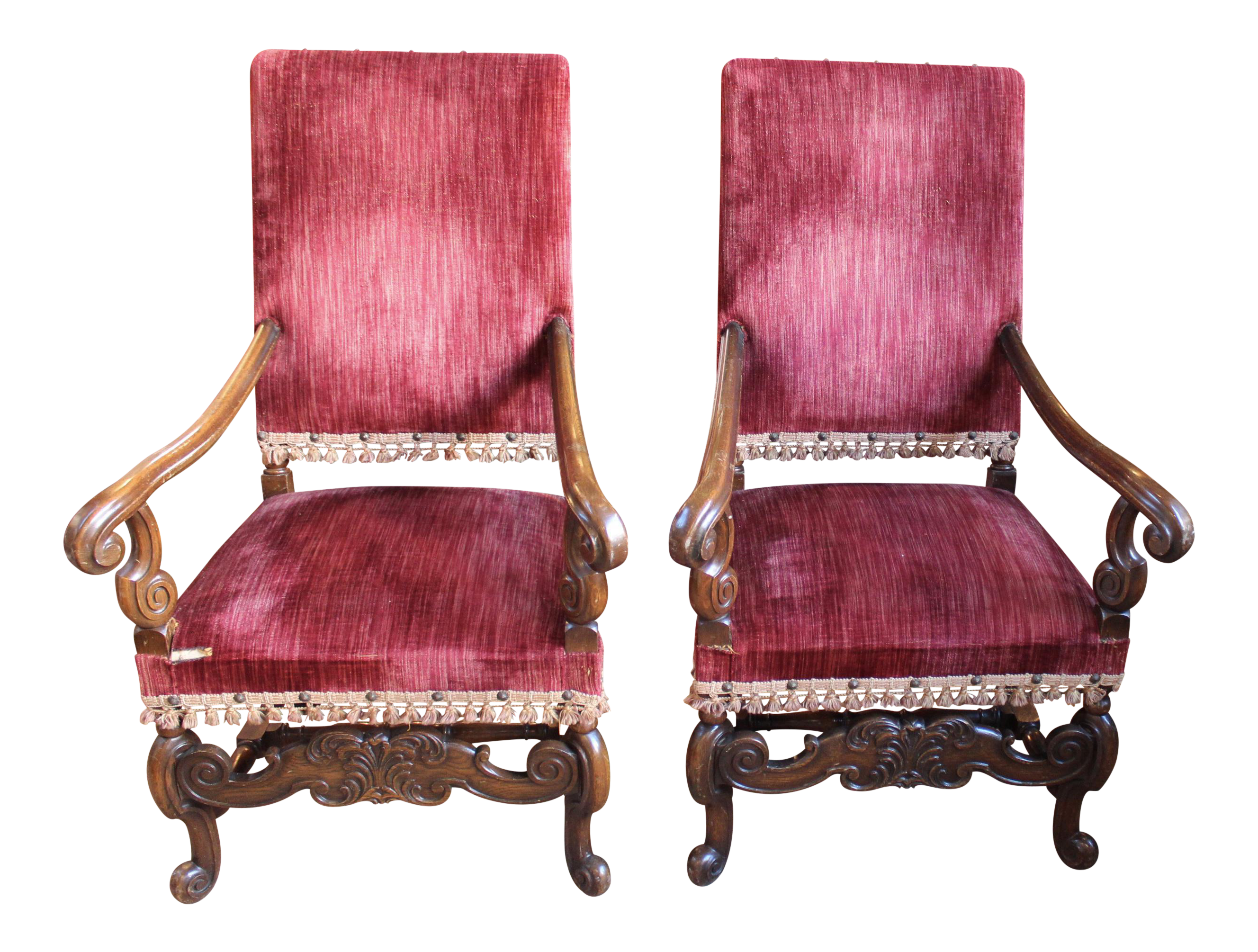 Louis XIV Style Carved Oak Arm Chairs   A Pair For Sale