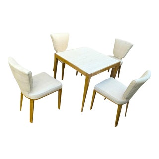 Jean Royère Documented Playing Card Set Made of 4 'Ecusson' Chair and 1 Table For Sale