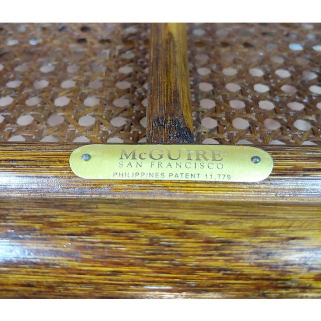 McGuire Bamboo & Glass Top Side Lamp Tables - A Pair For Sale - Image 10 of 11