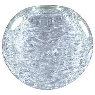 Heavy Glass Spherical Vase by Frantisek Vizner For Sale