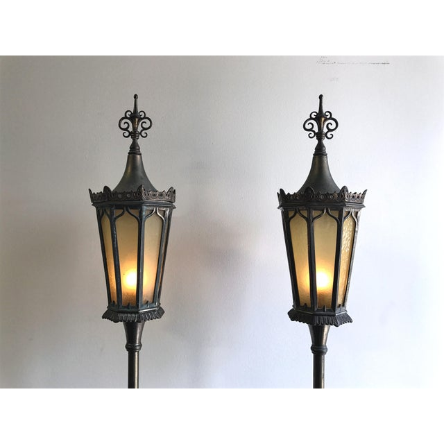 Gothic Oscar B Bach Gothic Bronze Floor Lamps - A Pair For Sale - Image 3 of 11