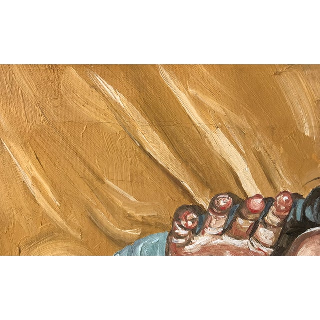 Fernando Franca Life Study Acrylic Painting on Canvas of Sleeping Boy For Sale - Image 9 of 11