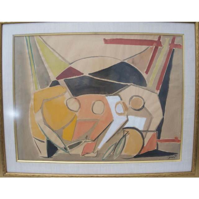 1949 Cubist Watercolor Painting by Edouard Pignon, Colleague of Picasso in Paris For Sale In West Palm - Image 6 of 8