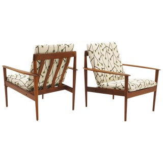 Pair of Danish Modern Lounge Chairs by Greta Jalk, Teak With New Cushions For Sale