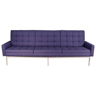 Newly Upholstered Knoll Sofa on Chrome Base For Sale