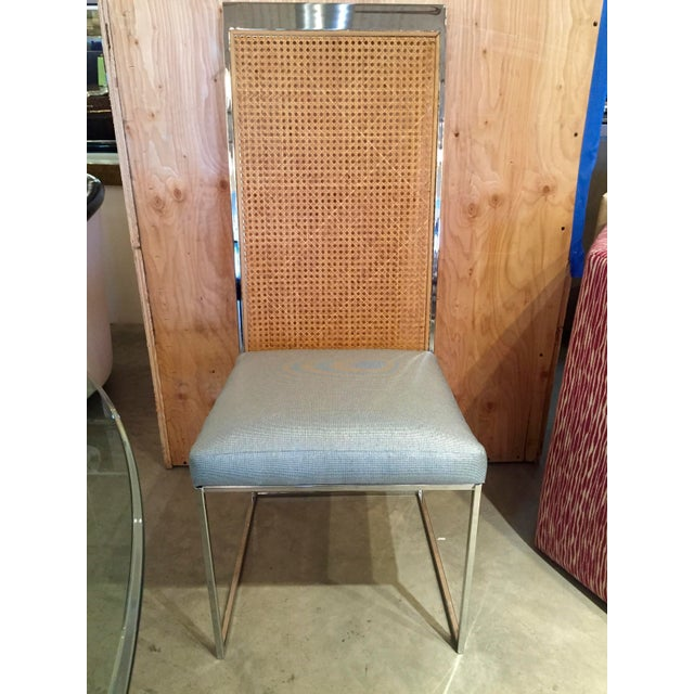 Mid Century Modern S/ 8 Milo Baughman Newly Upholstered Chrome & Cane Back Dining Chairs - Image 7 of 10