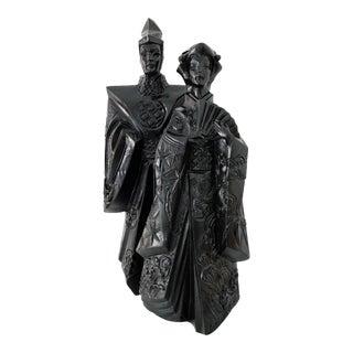 1980s Vintage Japanese Kimono Couple Sculpture by Austin Production For Sale