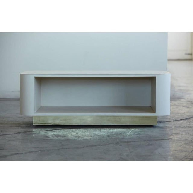 Mid-Century Modern Custom-Made White Laminate Media Center on Casters, circa 1980s For Sale - Image 3 of 10