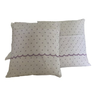 Early 21st Century Swiss Dot & Scalloped Down Pillows- a Pair For Sale