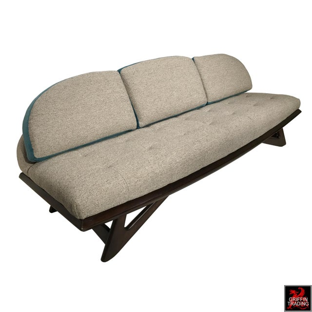 Wonderful Adrian Pearsall gondola sofa with two-tone upholstery. The shape and form of this mid-century couch, has all the...