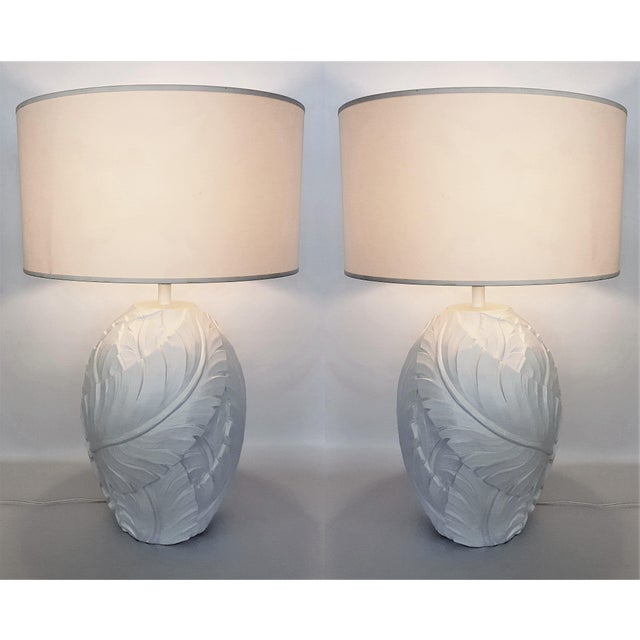Restored 1960s Plaster Palm Tree-Banana Leaves Table Lamps - a Pair-Serge Roche Mid Century Modern MCM Tropical Coastal Palm Beach Boho Chic For Sale - Image 10 of 11