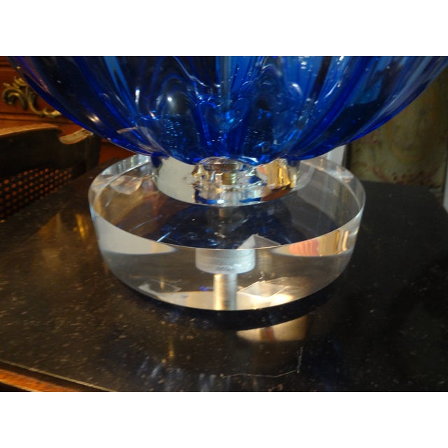 Murano Glass Cobalt Blue Table Lamp - Image 5 of 7