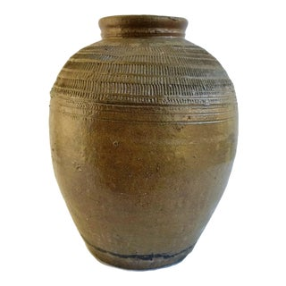 19th Century American Redware Stoneware Ovoid Pot Folk Primitive Jar For Sale