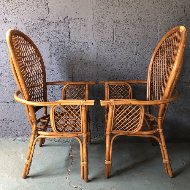 1980s 1980s Boho Chic Rattan Fan Peacock Chairs - a Pair For Sale - Image 5 of 13