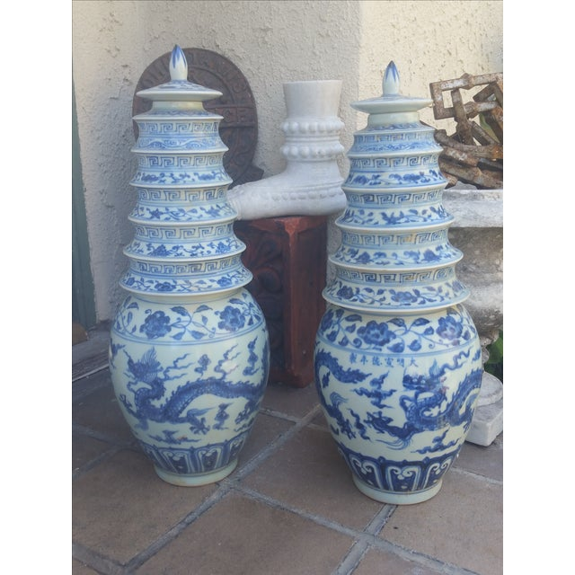 Chinese Blue & White Pagoda Temple Vases - A Pair - Image 3 of 7