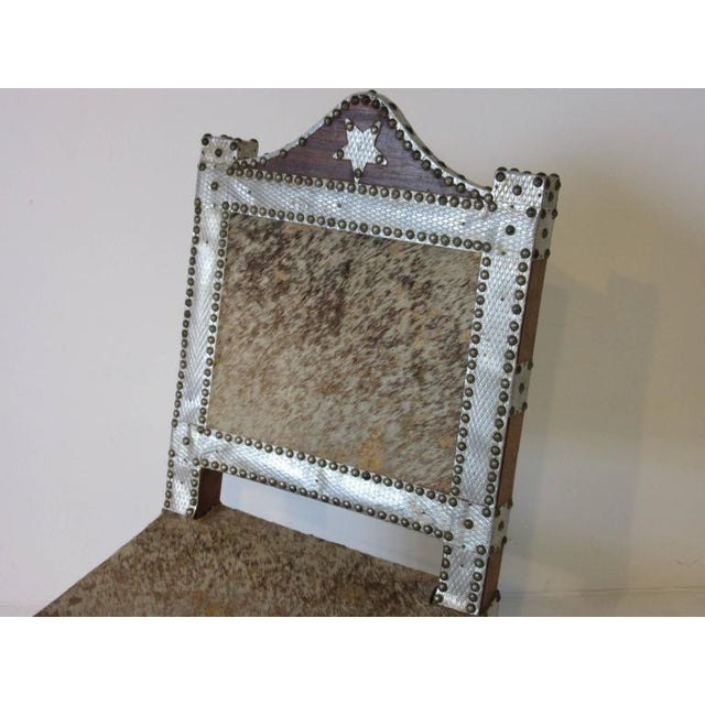 Folk Art African Royal or Prince Aluminum and Metal Studded Animal Skin Chair For Sale - Image 4 of 6