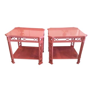 Chinoiserie Pink Lacquered Fretwork Side Tables - a Pair For Sale