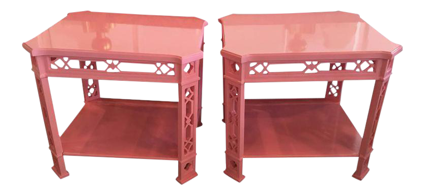 Chinoiserie Pink Lacquered Fretwork Side Tables   A Pair