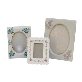 Floral Ceramic Picture Frames, Set of 3 For Sale