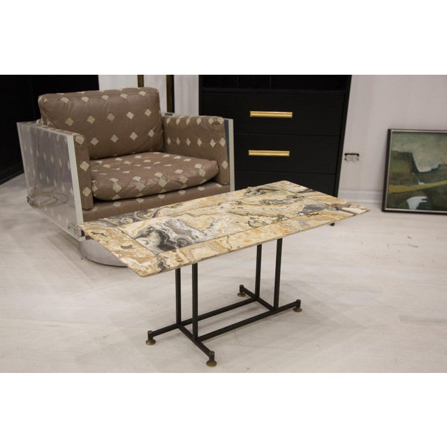Mid-Century Modern Onyx Coffee Table With Brass Inlay and Iron Base For Sale - Image 3 of 8