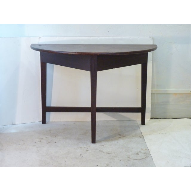 Early American Faux-Grain Demi-Lune Console For Sale - Image 9 of 9