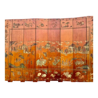 Antique Chinese Coromandel Carved Laquer 8-Panel Screen For Sale