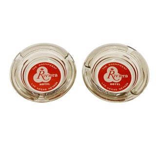 The Riviera Hotel Glass Ashtrays - a Pair For Sale