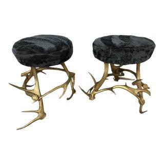 Antler & Beaver Fur Seat Stools - A Pair