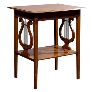 English 19th Century Collinson & Lock Satinwood Accent Table with Lyre Sides