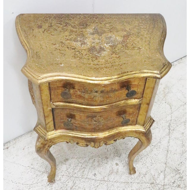 Italian Florentine gold gilt decorated 2 drawer nightstand.