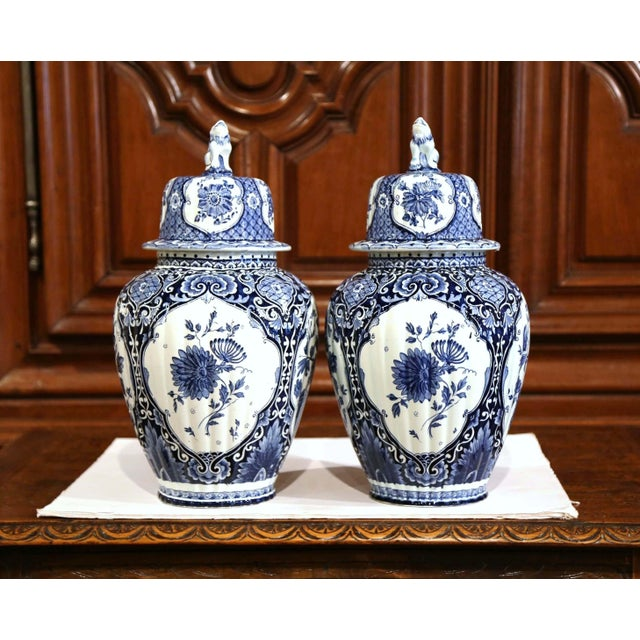 Mid 20th Century Mid-20th Century Dutch Blue and White Royal Maastricht Delft Ginger Jars-a Pair For Sale - Image 5 of 9