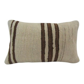 Vintage Handmade Brown Striped Natural Turkish Kilim Pillow Cover For Sale