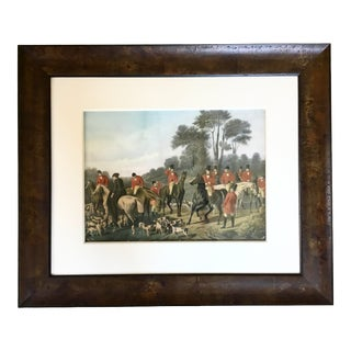 Antique English Horse Riding Print in Italian Wood Frame