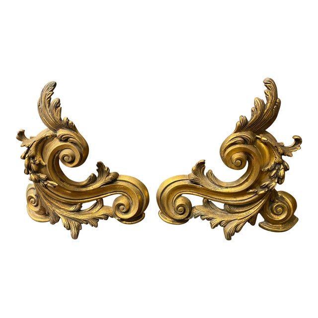 19th Century French Gilt Bronze Andirons, Ormolu Chenets - a Pair For Sale