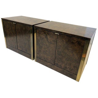 1970s Burlwood and Brass Nightstands by Mastercraft - a Pair For Sale