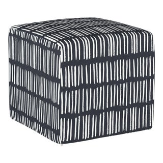 Dash Navy Cube Ottoman For Sale