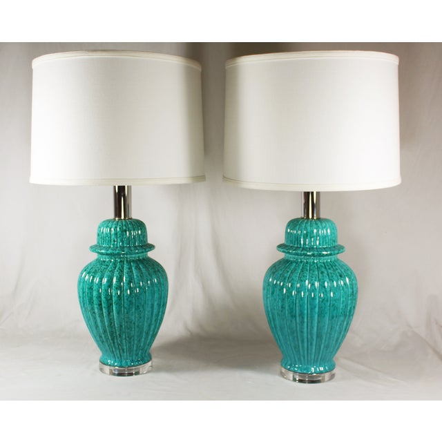 Paul Hansen Turquoise Ginger Jar Lamps - A Pair - Image 2 of 5