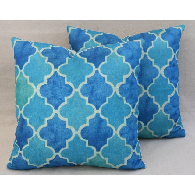 BoHo Chic Moroccan Tiles Linen Feather/Down Pillows - Pair - Image 2 of 11