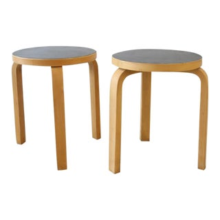 Alvar Aalto Birch Black Stools - a Pair For Sale